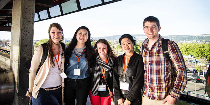 Students during a short-term internship experience in California