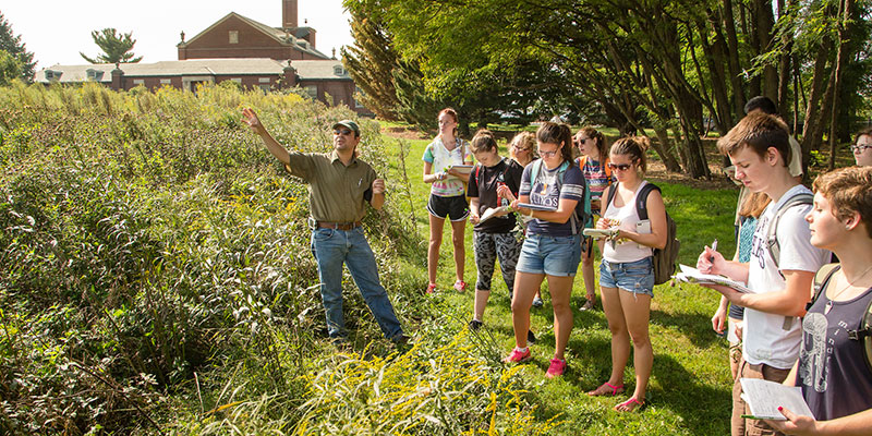 U of I students and a faculty member learning about a prairie restoration
